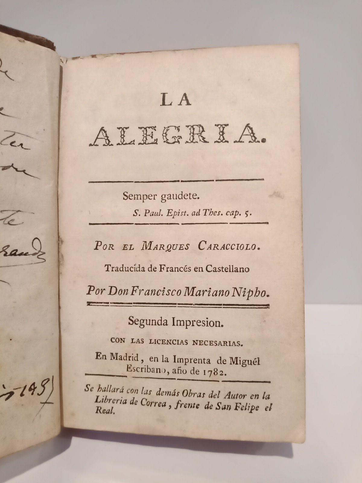 La alegría /  Traducida del Francés en Castellano por Don Francisco Mariano Nipho